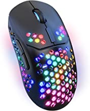 LED Wireless Mouse for Laptop,2.4G Rechargeable RGB Light up Cordless Mouse with USB&Type-c Receiver for PC Computer,Breat...