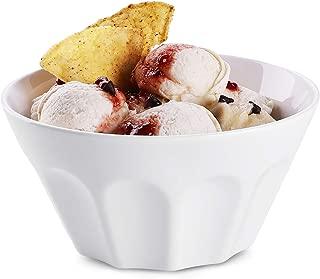 DOWAN Porcelain Fluted Bowls, 24 Ounce Cone Shape Porcelain Bowl for Cereal, Soup, Dessert, Fruit Bowls, Bowl Set of 4, White