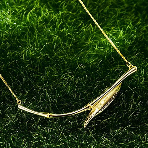 Collana in vero argento sterling 925 di design originale con gioielli raffinati Morning Dew on Bamboo Leaf Pendant Necklace per le donne