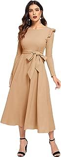 Women's Round Neck Ruffle Trim Long Sleeve Belted Dress