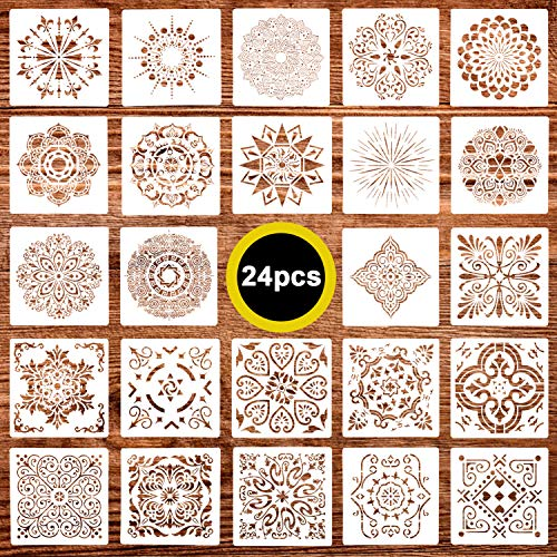 24 Pack (6x6 Inch) Painting Drawing Stencils Mandala Template for DIY Rock Painting Art Projects, Reusable