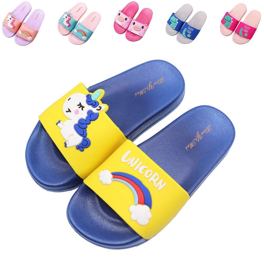 Toddler//Little Kids Kids Unicorn Slide Sandals Lightweight Summer Beach Water Shoes Boys Girls Shower Pool Slippers