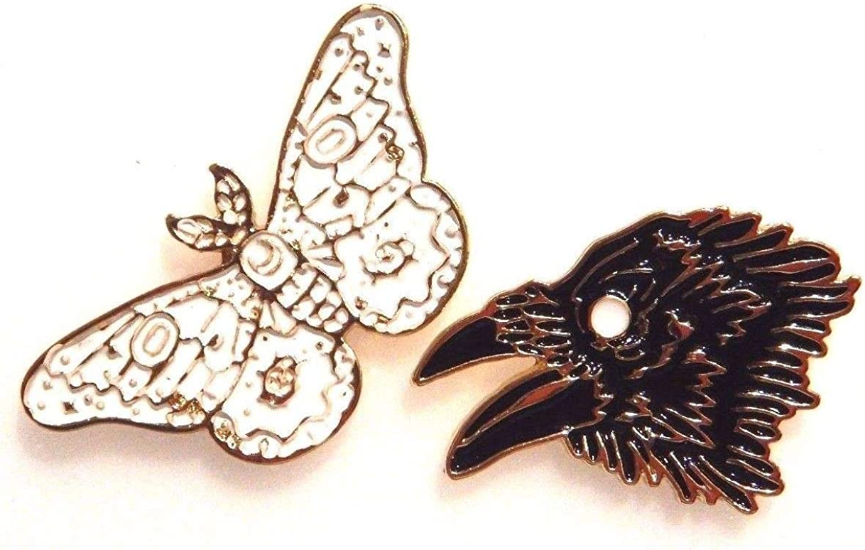 Black Raven White Moth Max 54% OFF Goldtone National uniform free shipping Lapel Gothic Brooch Set Pin