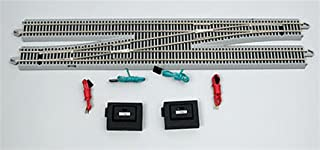 Bachmann Trains - Snap-Fit E-Z TRACK #6 REMOTE CROSSOVER TURNOUT - LEFT (1/box) - NICKEL SILVER Rail With Gray Roadbed - HO Scale