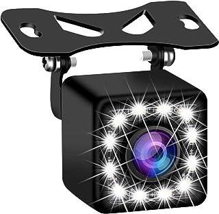 バックカメラ 超小型車載カメラ FUNDAリアカメラ 12LED灯付き 夜でも見える50万超高画質CMOS 170 度広角 角度調整可能 ガイドライン表示機能 IP69K防水 取り付き簡単