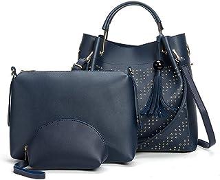 Women's Rivet Handbag Set Of 3 Versatile Multi Piece Set (Color : E)