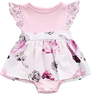 Big Sister Little Sister Floral Matching Clothing Lace Ruffle Sleeve Romper&Dress Outfit Family Clothing