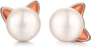 Handpicked Freshwater Cultured White Pearl Stud Earrings for Women Girls - 925 Sterling Silver Bunny Rabbit Stud Earrings Hypoallergenic Cat Stud Earrings(Safe for Sensitive Ears)