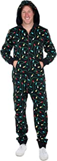 Women's and Men's Unisex Black Christmas Lights Jumpsuit - Ugly Christmas Sweater Party Adult Onesie
