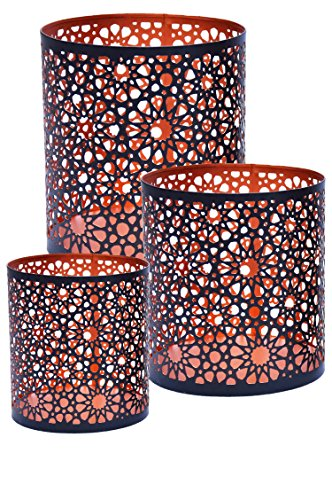 Lot de 3 Photophore marocain Adiba 14cm grand noir | Bougeoir Lanterne marocaine pour l'extérieur au jardin l'intérieur sur la table | Photophores marocains pour décoration maison orientale