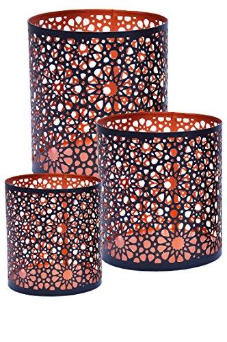3er Set Orientalisches Windlicht Laterne orientalisch Adiba 14cm Groß | Orientalische Vintage Teelichthalter Kupferfarben innen schwarz außen | Marokkanische Windlichter aus Metall als Dekoration