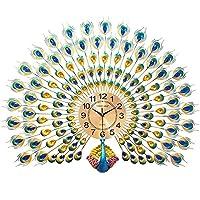 装飾的な壁掛け時計現代の静かな孔雀の壁掛け刻みのための3D時計(電池式)