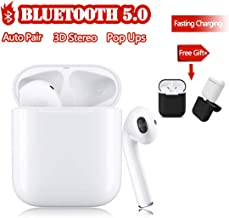 True Wireless Stereo Earbuds Bluetooth 5.0 Headset IPX5 in-Ear Earbuds Canceling Sports Headset【24Hrs Playtime】 Pop-ups Auto Pairing Headset Suitable for Apple/Airpods/Android/iPhone/Samsung (White)