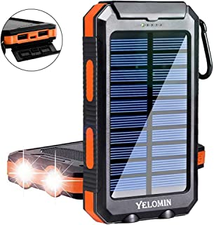 Solar Charger,Yelomin 20000mAh Portable Outdoor Waterproof Mobile Power Bank,Camping External Backup Battery Pack Dual USB 5V 1A/2A Output 2 Led Light Flashlight with Compass for Tablet iPhone Android