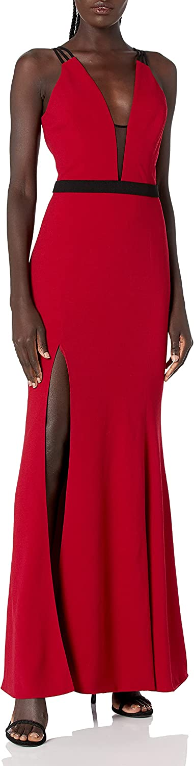 Dress the Population Women's Lana Plunging Long Mermaid Solid Crepe Gown Maxi Dress