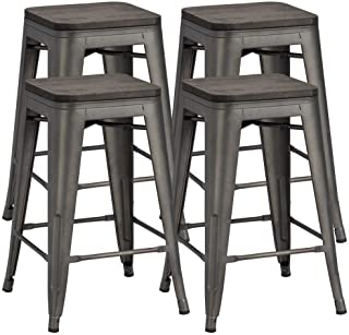 Yaheetech 24 inches Metal Bar Stools Counter Stool Indoor/Outdoor Stackable Barstools Counter Wood Top/Seat Bar Stools Set of 4, Gunmetal