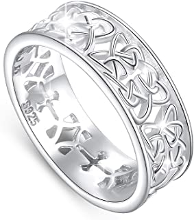 Nickel-Free 925 Sterling Silver Good Luck Irish Love Trinity Woven Celtic Knot Band Ring for Women, Size 5 6 7 8 9 10 11