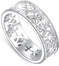 DAOCHONG Nickel-Free 925 Sterling Silver Good Luck Irish Love Trinity Woven Celtic Knot Band Ring for Women, Size 5 6 7 8 9 10 11