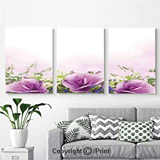 Canvas Prints Modern Art Framed Wall Mural Spring Cabbage Flowers in Fragrant Bouquet with Partially Shaded Color Romance for Home Decor 3 Panels ,Wall Decorations for Living Room Bedroom Dining Room