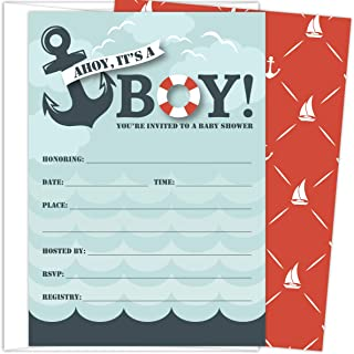 Koko Paper Co It's a Boy Nautical Baby Shower Invitations | 25 Fill-in Invitations and Envelopes | Printed on Heavy Card S...