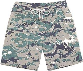 XIELH Shorts Summer 3D Printed Beach Pants Home Plus Size Loose Pants 3D Blue Camouflage Beach Shorts