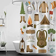 homecoco Shower Curtains for Bathroom Black Woman Adventure,Camping Equipment Sleeping Bag Boots Campfire Shovel Hatchet Log Artwork Print,Multicolor W60 x L72,Shower Curtain for Shower stall
