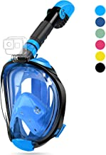 OUSPT Full Face Snorkel Mask, Snorkeling Mask with Detachable Camera Mount, Panoramic 180° View Upgraded Dive Mask with Sa...