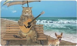 InterestPrint Funny Cat with a Guitar and His Dog on Beach Doormat Anti-Slip Entrance Mat Floor Rug Indoor/Outdoor/Front D...