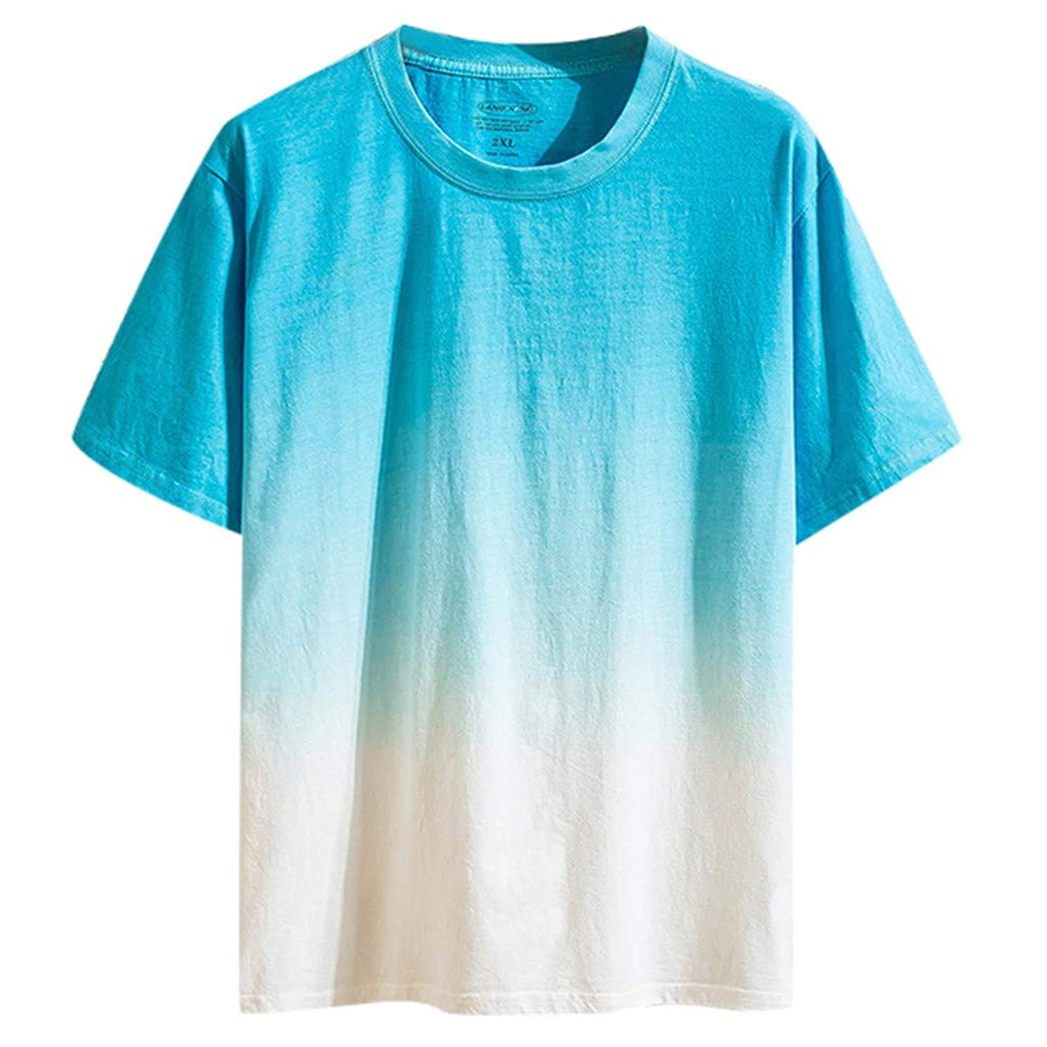 JJLIKER Mens Gradient Color T-Shirt Short Sleeve Tops Hipster Summer Casual Jersey Crewneck Tunic Tees