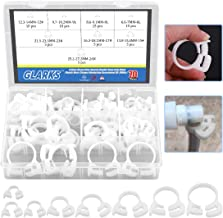Glarks 70Pcs 8 Size Heavy Duty White Double Gripping Nylon Hose Clamps Set, 6.6-27.2mm Plastic Snap Ratcheting Clamps Assortment Kit (White 70Pcs)