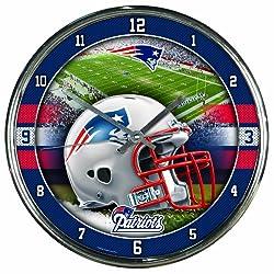 Nfl Football Team Chrome Wall Clock , New England Patriots , 12-Inch