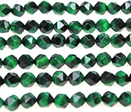 MJDCB Best Sellers Natural Stone Beads Faceted Polygon Green Tiger Eye Crystal Energy Stone Healing Power for Jewelry Making(8mm)