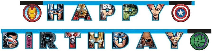 Procos - Guirnalda articulada Happy Birthday Avengers Mighty, multicolor, 5PR87972