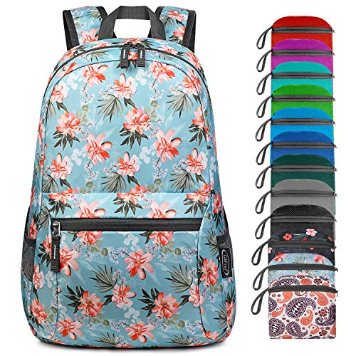 G4Free 20L Ultra Lightweight Foldable Backpack Packable Water Resistant Daypack for Outdoor Walking Camping Traveling Cycling Holiday Unisex (Flower Blue Update)