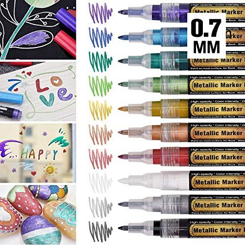 Metallic Marker Stifte mit Dünner Spitze, 0,7mm Permanent Superfein Metallischen Stift, 10 Farben Pens für Kartenherstellung Diy Fotoalbum Scrapbooking Gästebuch Hochzeit Papier Kunststoff Stein
