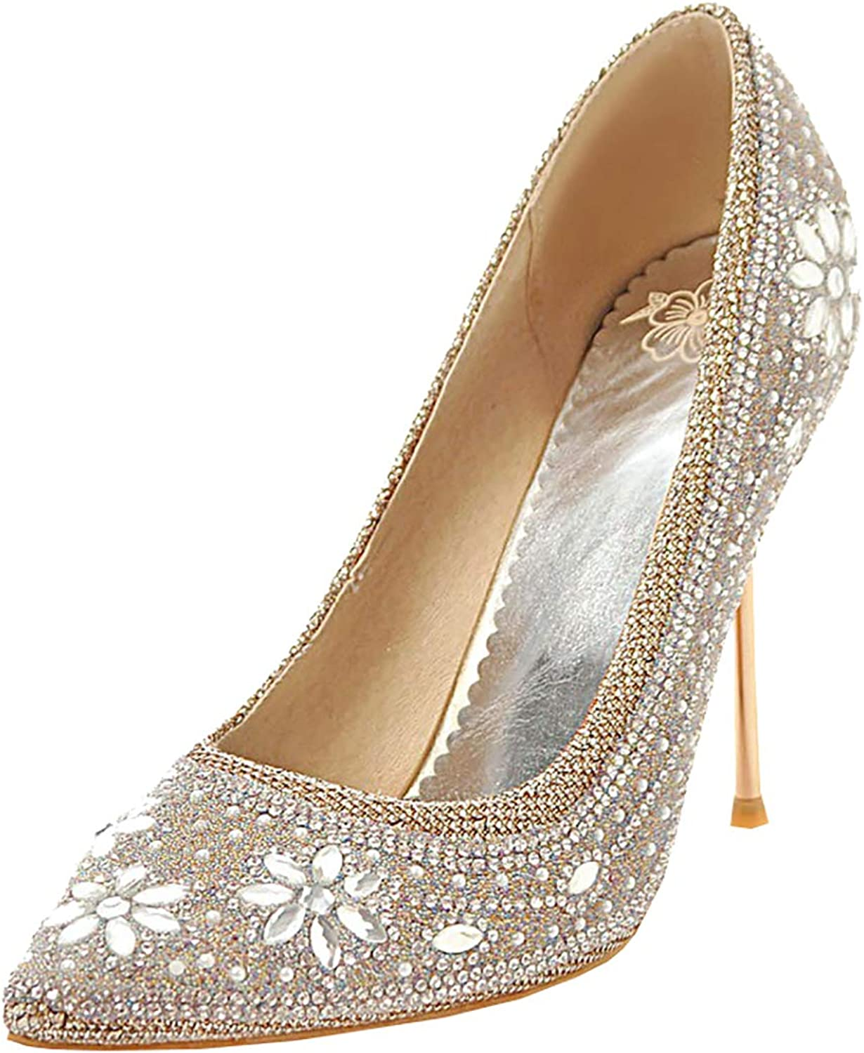 Artfaerie Womens Crystal Rhinestone Pointed Toe Stiletto High Heel Sequin Pumps Glitter Bridal Wedding Court shoes