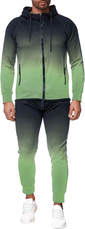 2019 Men's Jogging Tracksuit Sportswear, Men's Activewear Full Zip Gradient Warm Tracksuit Sports Set Casual Sweat Suit