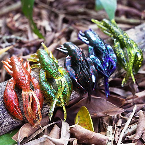 XFISHMAN Crawfish-Lures-Bass-Fishing-Jig-Trailers-Soft Plastic 25/30 pk Shrimp Creature Crawdad Baits Kit 2 Huge Pinchers 3-4in (Swing Hands Craw 3.25 in 30pk)