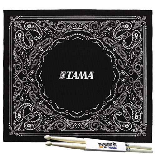 Tama TDR-PA Tapis de batterie Motif cachemire Noir 180 x 200 cm + 1 paire de baguettes Keepdrum