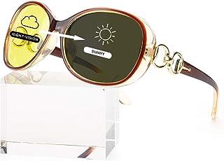 Women Oversized Night-Vision Glasses Anti-Glare HD Yellow...