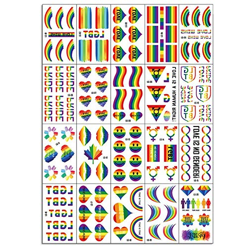 Nicololfle Regenbogen Aufkleber,Gay Pride Regenbogen Aufkleber Flagge Gesicht Körper Temporäre Tattoos Regenbogen Paraden Festival Party Favors Supplies Dekorationen , 123 Pcs Aufkleber (20 Blatt)