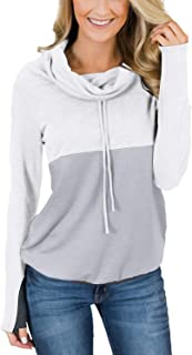 Women's Casual Color Block Hooded Sweatshirt with Thumb Holes