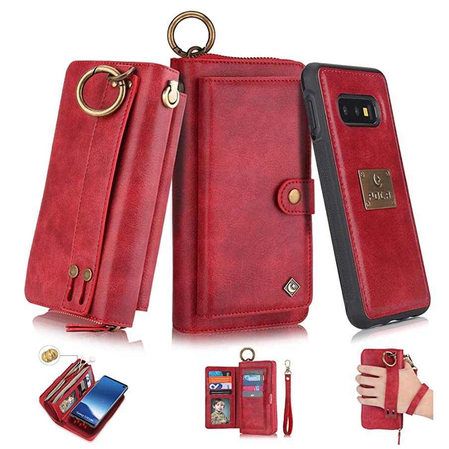 Galaxy S10 Plus Flip Wallet Case,SXTBMR Magnetic Detachable Handmade Cowhide Wallet Case Leather,Zipper Wallet Flip Protective Case Cover with Card Holder [Wrist Strap] for Samsung S10 Plus Red