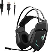 Gaming Headset, GAKOV GAMV3 Stereo Wired Gaming Headphones Super Bass Over Ear Headphones with Surround Sound, LED Light and Noise Reducing Microphone,Compatibility with Xbox One,PS4,PC