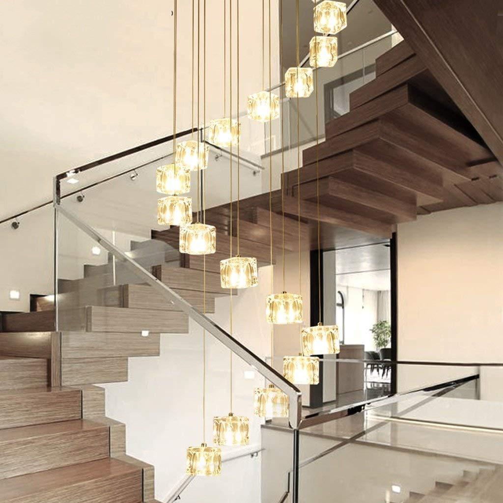 LEFASHANGPU Rotar Arte Escaleras de araña, Lámpara de Escalera de Cristal Simple Lámpara Colgante de Vidrio LED Comedor Minimalista Moderno con luz de Techo giratoria Creativa (tamaño : 50 * 200 cm): Amazon.es: Hogar
