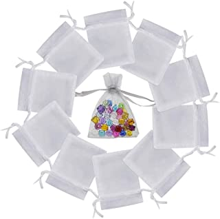 """Niome 100 Pcs 2.8"""" X 3.5"""" White Organza Jewelry Pouches Wedding Party Favor Gift Candy Bags 7 x 9cm"""