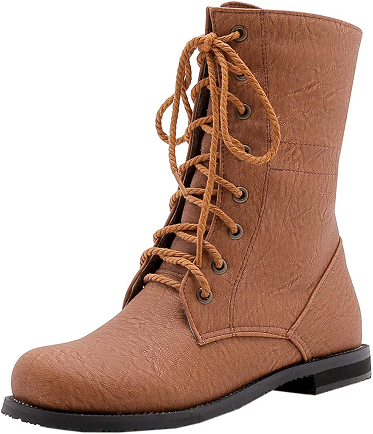 Vitalo Womens Lace Up Military Flat Heel Combat Ankle Boot Biker Mid Calf Boots