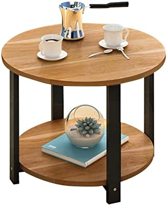 LF- Desk Mount The Tea-Tabelle.Einfach Double Layer Coffee Table Living Room Sofa Side Table Frame Book Magazine Rack Room Negotiating Table Chic (Color : B, Size : 50cm)