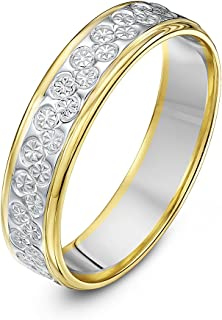 (H, 5 Millimetres, Multicolour) - Theia Two Colours, 9 ct White and Yellow Gold Heavy Flat Diamond Cut 5 mm Wedding Ring