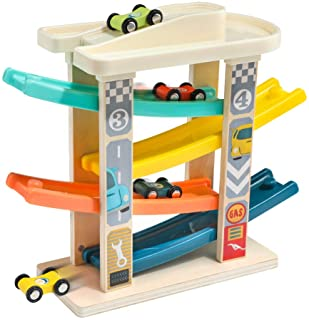 TOP BRIGHT Toddler Toys Race Track for 1-2 Years Old Boy Gifts - Baby Car Toy Car Ramp Vehicle Playsets with 4 Wooden Cars...